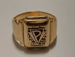 1933 10k Yellow Gold Presque Isle Maine High School Ring About Size 5 L.g.b.co.