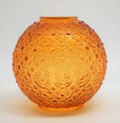 Vintage Glass Miniature Oil Lamp Globe Amber Color Shade - Daisy Pattern 4 Tall