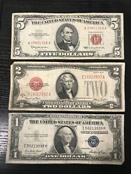 Rare Lot 1935-1957 1 Blue Seal Silver Certificate 1928-1963 2 5 Red Seal Note