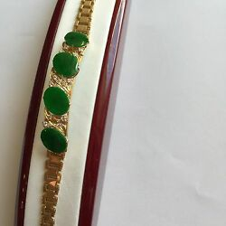 Oval Green Jade Womens Bracelet Bangle 14k Solid Yellow Gold - 7 Inches - B48