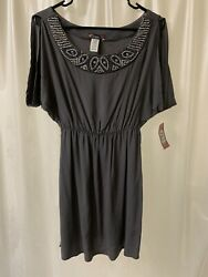 Cute Gray Midi Dress Free Flowing  Gathered Waist Embellished Neck Macy's