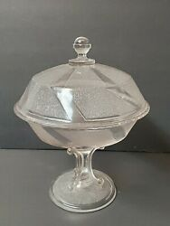 Vintage Art Deco Candy Dish Clear Frosted Swirl Pedestal Bon Bon Collectible