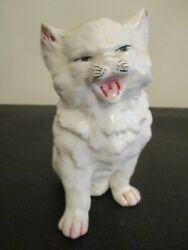 snarling cat with an attitude ceramic figurine rough amp; tough kitten vintage