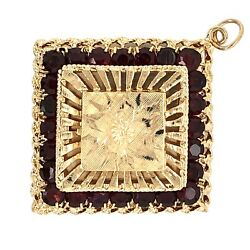 Charm Pendant 14k Yellow Gold Square Locket With Red Garnets - Estate Jewelry