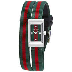 G-frame Green And Red Dial Double Loop Nylon Ladies Watch Ya147503