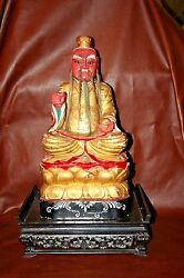 Antique Chinese Gilt Wood Carved 25 Cai Shen Wealth God Buddha Statue On Base