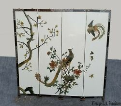 Vintage Oriental Asian Soapstone Peacock White Four Panel Screen Room Divider