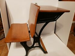 Antique Childand039s School Desk Wood And Black Cast Iron With Ink Well Bottle