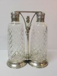 Vintage And Co. Tantalus Sterling Silver Stand Cut Glass Bottles And Key
