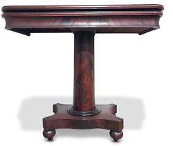 C.1840 American Empire Mahogany Game Table Console Attributed To John Hall