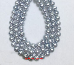 Long Aaaaa Round Real 4811-12mm Natural South Sea Gray Pearl Necklace 14k Gold