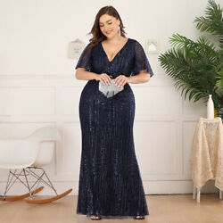 Ever-Pretty US Plus Size V-neck Long Evening Dress Mermaid Party Celebrity Gowns