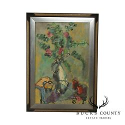 Acrylic Still Life Painting Flowers In Pitcher Signed E