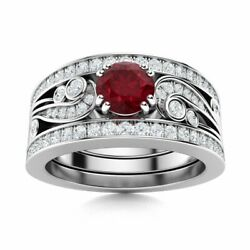 Natural Diamond And Aaa Ruby Vintage Wedding Engagement Ring 14k White Gold