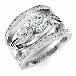 Natural Diamond And Sapphire Vintage Wedding Engagement Ring Set In 14k White Gold