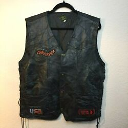 Canyon Creek Leather Mens Eagle USA Patches Leather Biker Motorcycle Vest XL