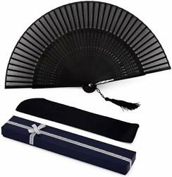Chinese Japanese Folding Hand Fan Black Blank Silk Bamboo Classical Style