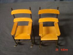 Lot Of 2 Miniture Doll Rocking Chairs Furniture Wood And Metal