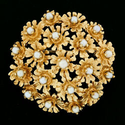 Vintage 14k Yellow Gold Round White Cultured Pearl 19 Flower Cluster Brooch Pin