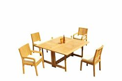 A-grade Teak 5pc Dining 60 Square Rectangle Butterfly Table Maldives Chair Set