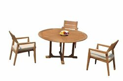 A-grade Teak 4pc Dining 60 Round Table 3 Vellore Stacking Arm Chairs Set Patio