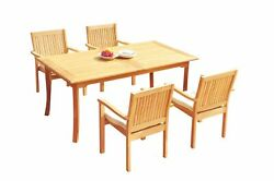 A-grade Teak 5pc Dining 94 Rectangle Table 4 Leveb Stacking Arm Chairs Set