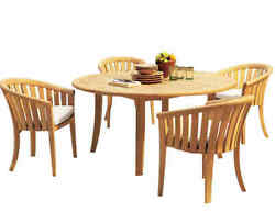 A-grade Teak 5pc Dining 52 Round Table 4 Lenong Arm Chairs Set Outdoor Patio