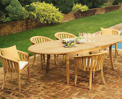 A-grade Teak 7pc Dining 118 Oval Table 6 Lenong Arm Chairs Set Outdoor Patio
