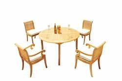 A-grade Teak 4pc Dining 52 Round Table Giva Chair Set Outdoor Patio