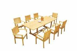 A-grade Teak 9pc Dining 94 Mas Rectangle Table Leveb Stacking Arm Chairs Set