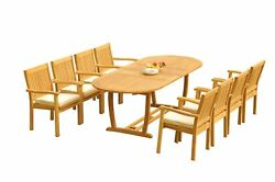 A-grade Teak 9pc Dining 94 Mas Oval Table Leveb Stacking Arm Chairs Set Outdoor