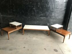 Danish End And Coffee Side Tables Mid Century Modern Travertine Top Teak