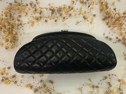 ❤️ Leather Quilted Navy Clutch❤️