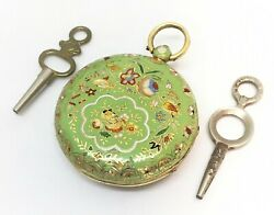 Late 18th C. 18k Gold Beautiful Enameled Pocket Watch By Anton List Wein Rare