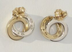 And Co. Sterling Silver And 18k Yellow Gold Interlocking Circles Earrings