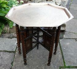 Antique Anglo/indian Inlaid Folding Side Table With Brass Tray