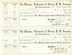 Delaware, Lackawanna And Western R.r. Company Issued To And Signed By James Stil