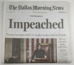 President Donald Trump Impeached The Dallas Morning News 12 19 2019 Newspaper