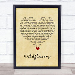 Wildflowers Vintage Heart Song Lyric Quote Music Print