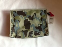 BARNEYS New York LARGE COSMETIC BAG CAMO w PINK ZIPPER pull NWT MSRP $60 New BNY $9.99