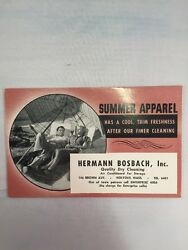 Hermann Bosbach Dry Cleaning Holyoke Ma Advertisement Vintage Paper Ink Blotter