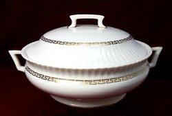 Lenox China Cretan O316 Pattern Round Covered Vegetable Serving Bowl And Lid, Chip