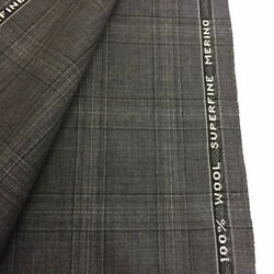3.5 Metres Grey Checked Superfine Merino 100 Wool Suit Fabric. Made In England.