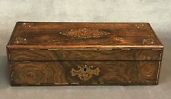 Antique French Gants Boulle Brass Inlaid Wood Glove Box