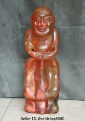 25 China Antique Old Hongshan Culture Red Crystal Buddha Sun God Head Statue