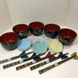 Japanese Tableware Lacquer Bowl Pottery Small Plate Chopsticks 5 Pieces Set