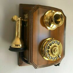 Reproduction Wooden Retro Telephone Rotary Dial Mechanical Bell Wall Mount