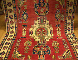 6.3 X 9 Hand Knotted Fine Quality Afghan Kazak Rug Vegetable Dyes Hand Spun Wool