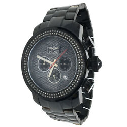 1.5ctw Genuine Natural Real Diamond Full Stainless Steel Menand039s Black Gold Watch