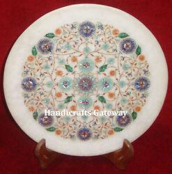 Pietra Dura Inlay Work Marble Decorative Plate, Intricate Inlay Art Marble Plate